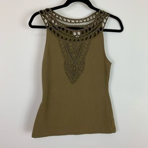 Xs postmark olive green halter top crochet neck